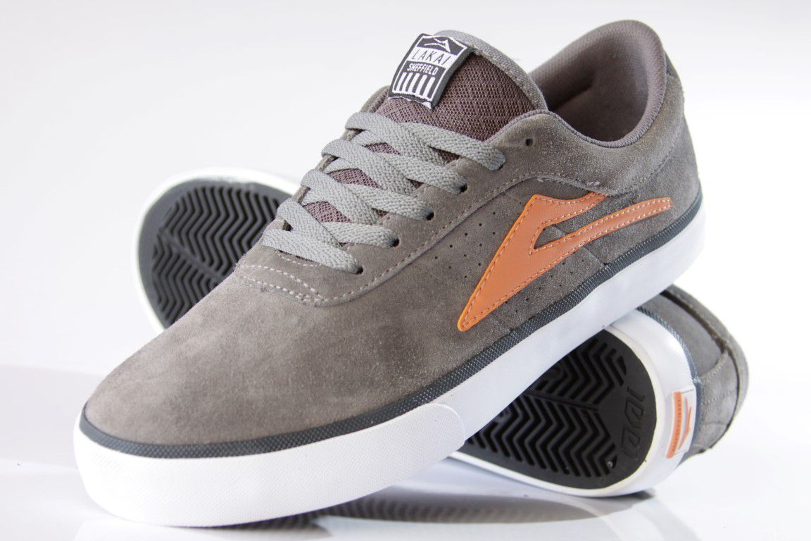 Tênis Lakai - Sheffield SD Suede Charcoal/Orange  - No Comply Skate Shop