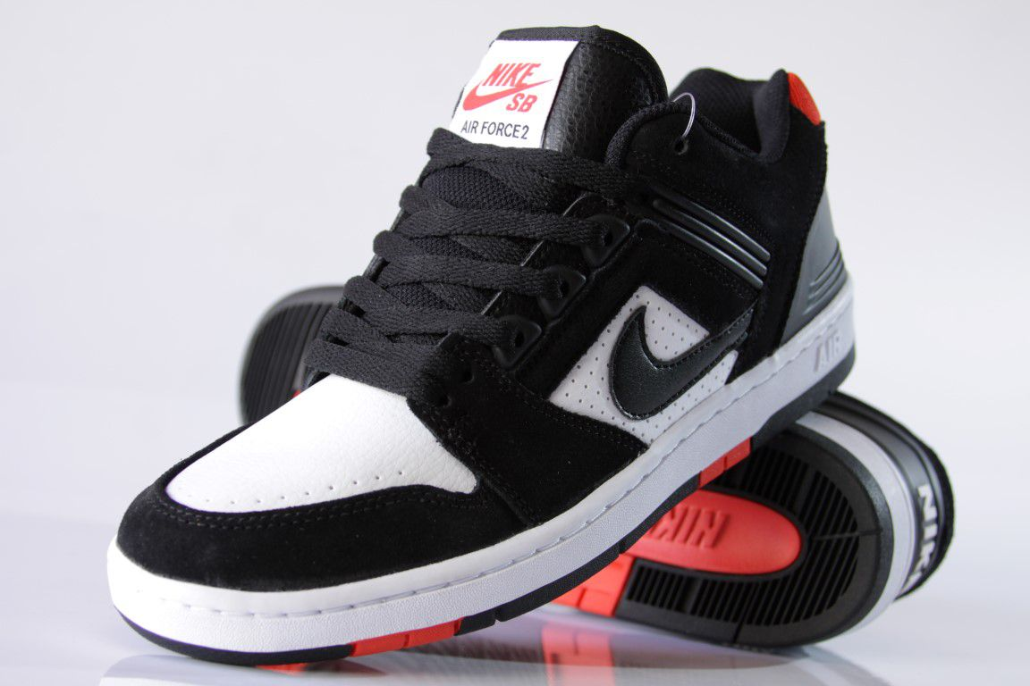 Tênis Nike SB - Air Force II Low Black/White-Habanero Red  - No Comply Skate Shop