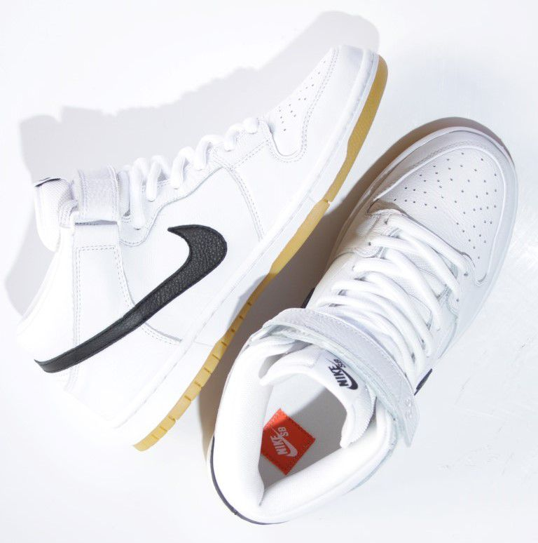 Tênis Nike SB - Dunk Mid Pro Iso White/Black-White-Gum  - No Comply Skate Shop