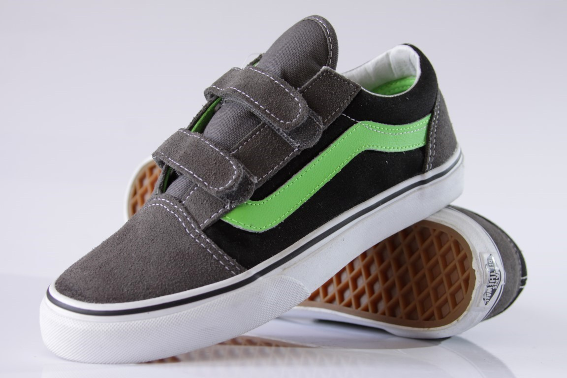 Tênis Vans - Kids Old Skool V Pewter/Green Flash  - No Comply Skate Shop
