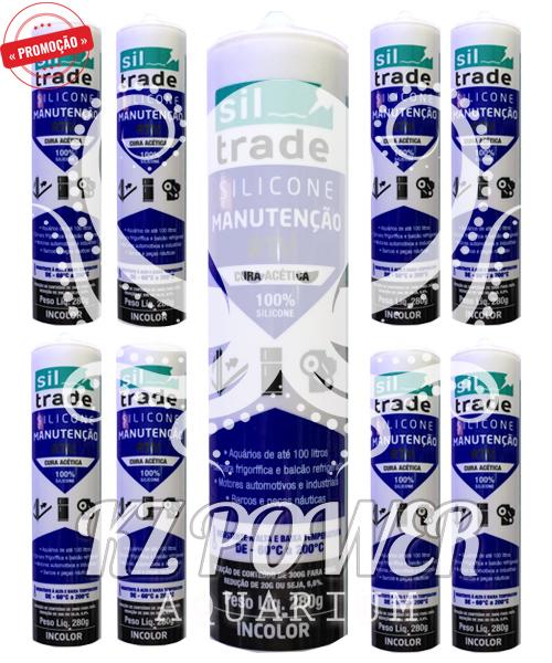 9 tubos Siltrade Silicone Manutenção RTV 280gr Incolor  - KZ Power