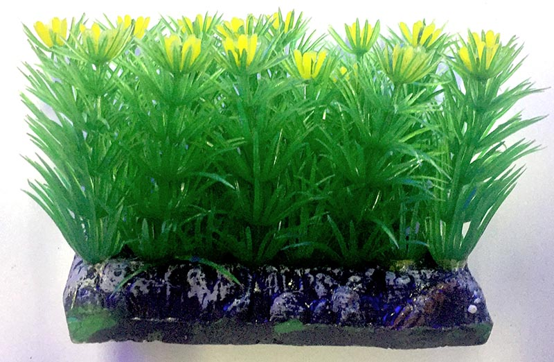 Planta Artificial P/ Aquarios Tapete C/ Flor Amarela 6cm Soma 071005  - KZ Power