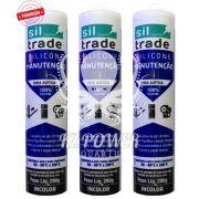 3 tubos Siltrade Silicone Manutenção RTV 280gr Incolor