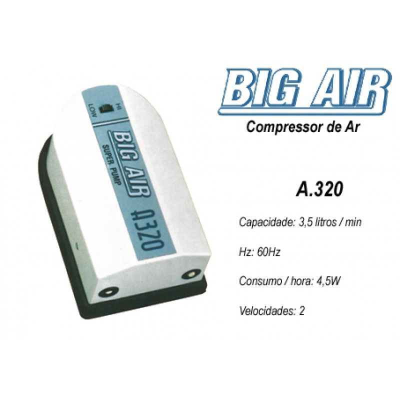 Compressor De Ar Big Air A320 p/ Aquários- 2 Saidas 127v.  - KZ Power