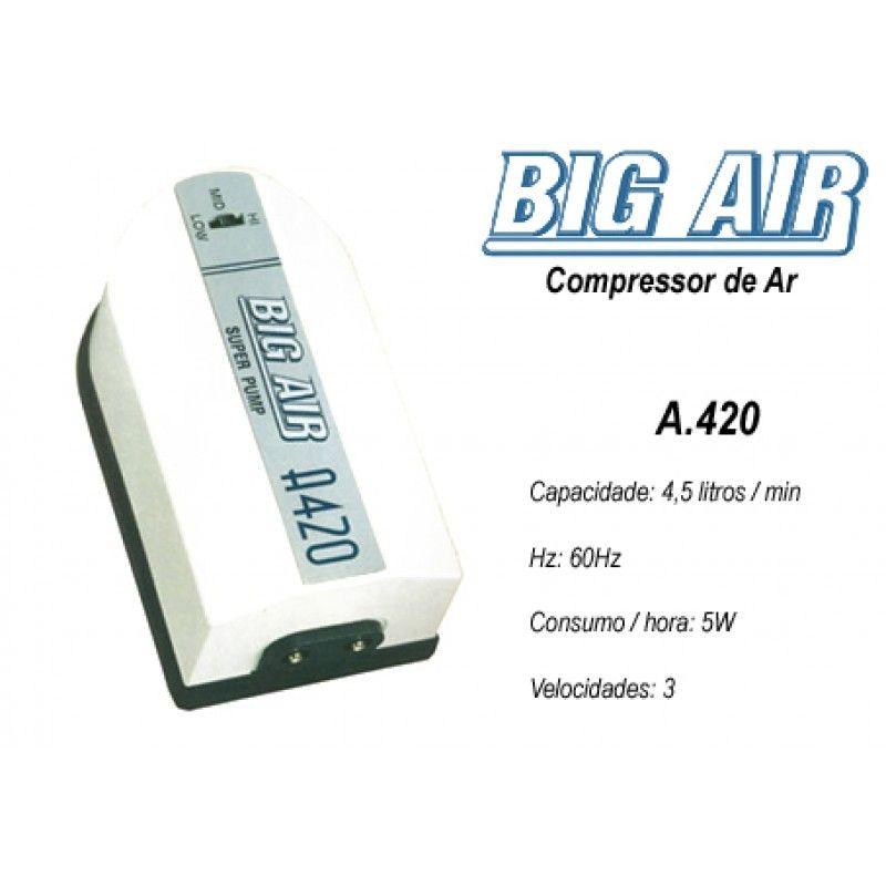 Compressor De Ar Big Air A420 p/ Aquários- 2 Saidas 220v.  - KZ Power