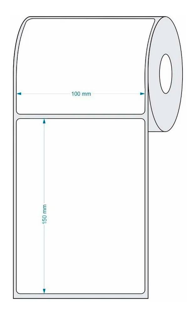 Rolo de etiquetas em térmico adesivo borracha, 10x15 cm, com 0200 etiquetas - Faturamento mínimo 20 unidades