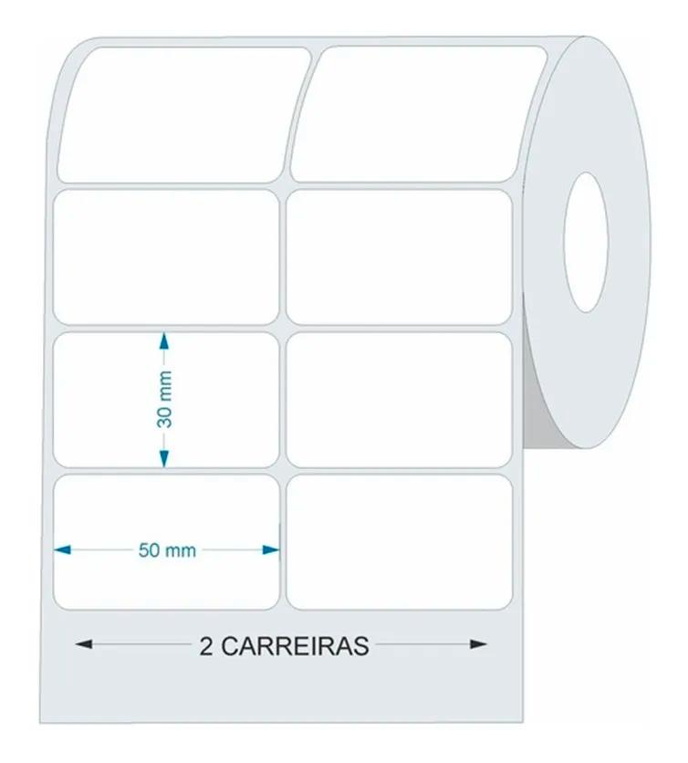 20 Rolos Etiqueta Adesiva Couche 50x30 (mm) 2 Colunas Branca