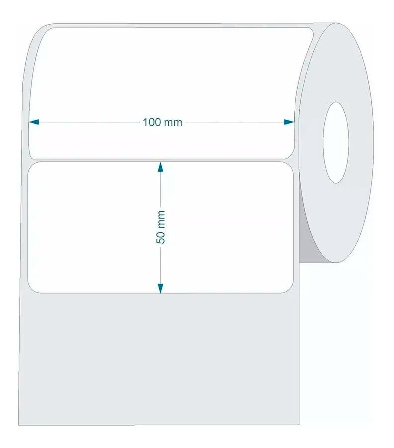 10 Rolos - Etiqueta Couche 100x50 - 31 Metros 10x5 Cm