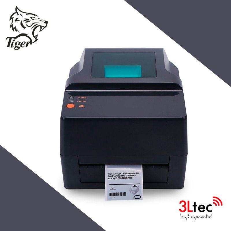 Impressora de Transferência Térmica  TI 425R, TIGER, 203dpi, 2 - 5 pol/seg, 104 mm de larg. de Impressão, 300 m de Ribbon. Fonte, Cabo USB e Software de Criação de Etiquetas Inclusos