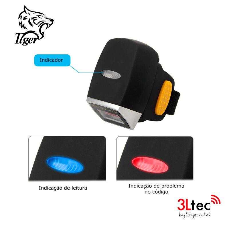 Leitor de Código de Barras 1D/2D TI-R2, TIGER, BT, Imager para Dedo. Com Cabo USB para Recarga