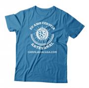 """Camiseta """"Eu amo cerveja artesanal"""" (azul)"""