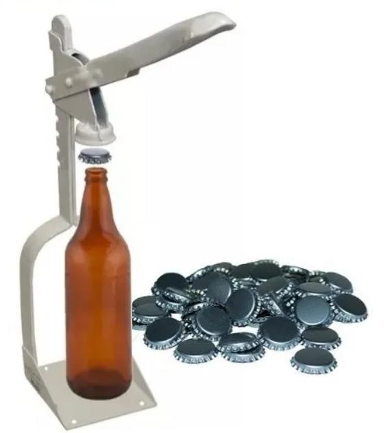 Arrolhador (tampador) de garrafas Com 200 Tampas