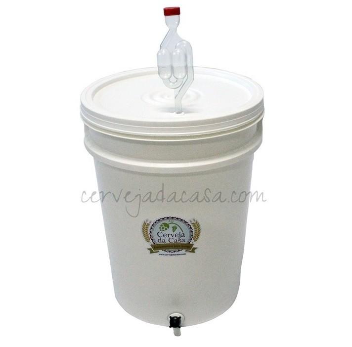 Balde Fermentador 12 Litros com Torneira, Airlock e Anel de Silicone  - Cerveja da Casa