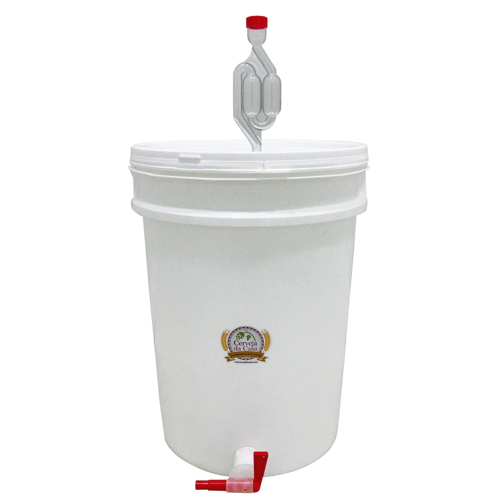 Balde Fermentador 12L com Torneira Anti-resíduos, Airlock e Anel de Silicone