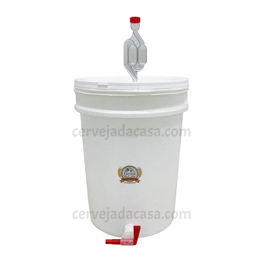 Balde Fermentador 22L com Torneira Anti-resíduos, Airlock e Anel de Silicone  - Cerveja da Casa