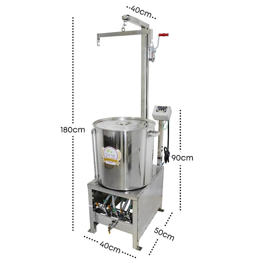 BierMaker 50 litros - Equipamento em Inox Automatizado Método Single Vessel com Estrutura