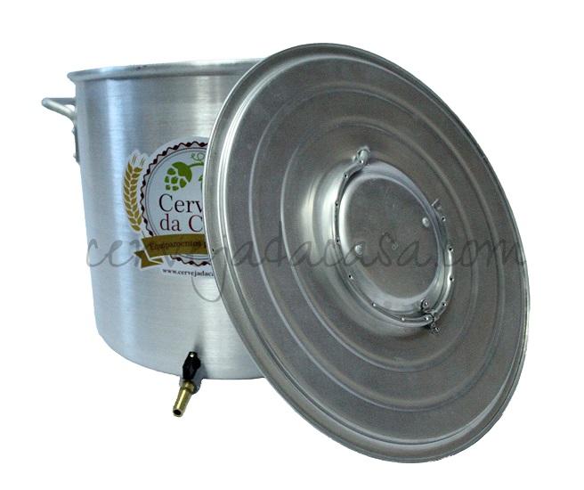 Caldeirão Cervejeiro Alumínio com Registro, Fundo Falso e Chuveiro Dispersor  - Cerveja da Casa
