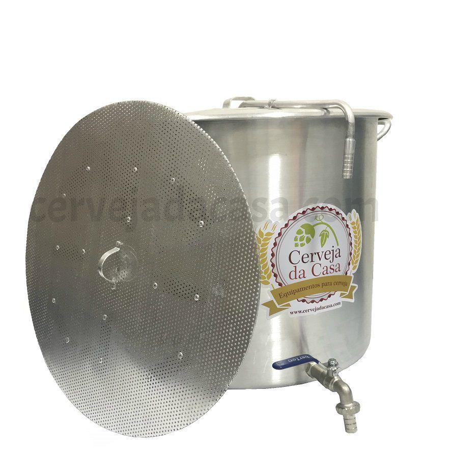 Caldeirão Cervejeiro Alumínio com Registro, Fundo Falso e Sparge