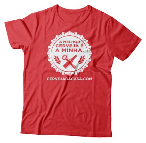 """Camiseta """"A melhor cerveja é a minha"""" (vermelha)"""