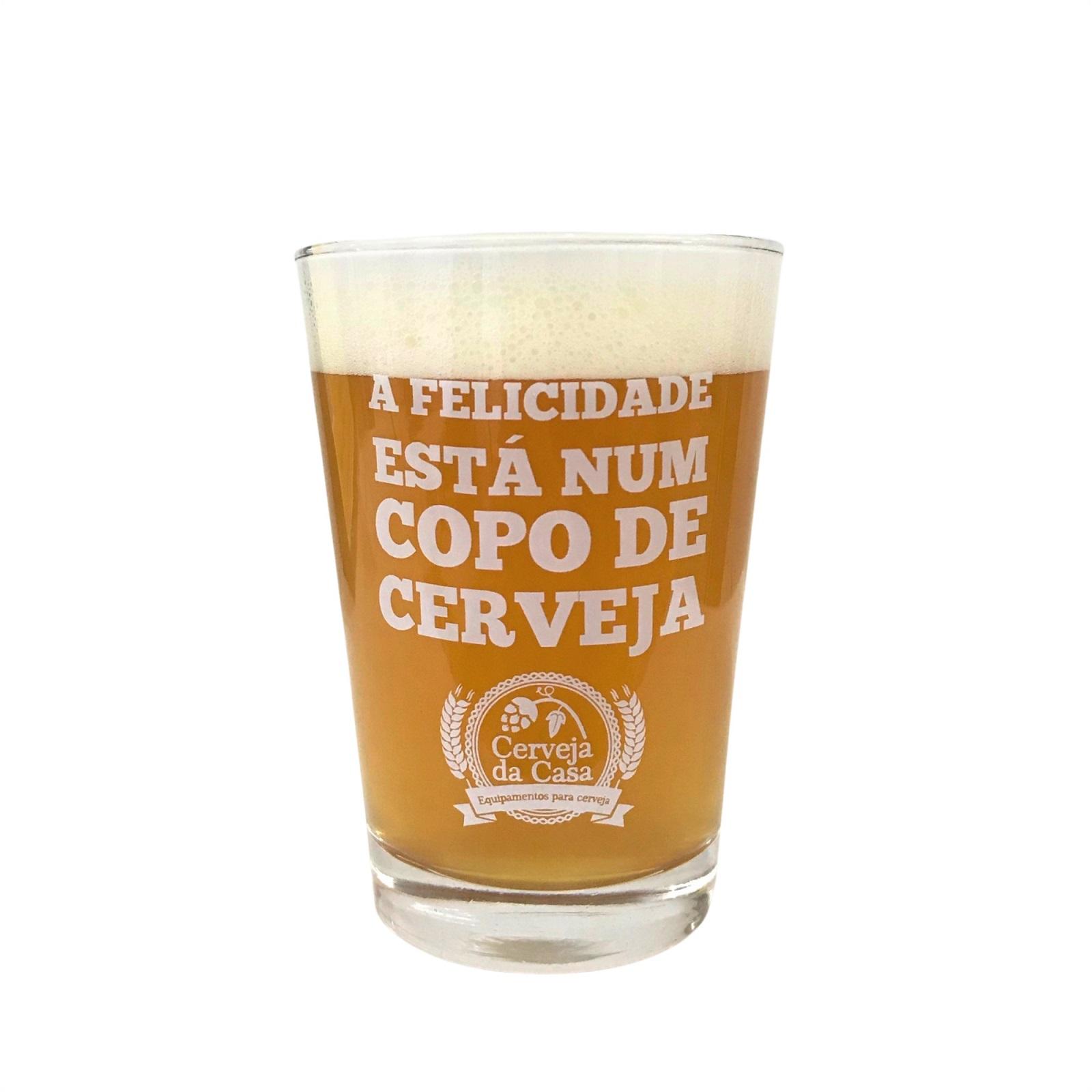 """Copo Caldereta """"A Felicidade Está num Copo de Cerveja"""" 300ml"""