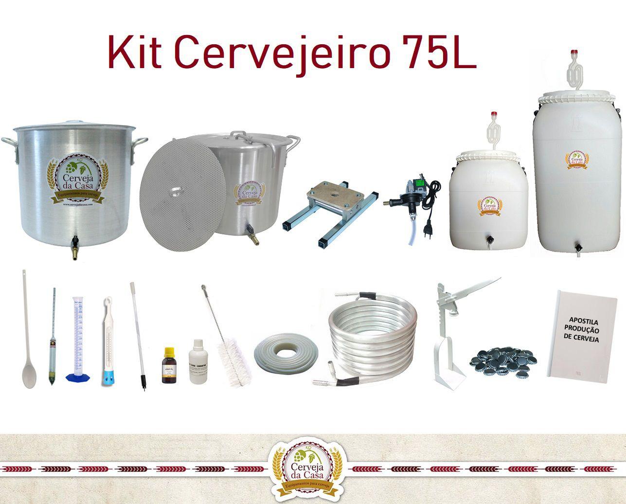 Kit Cervejeiro p/ Produção de Cerveja Artesanal – 75 litros  - Cerveja da Casa