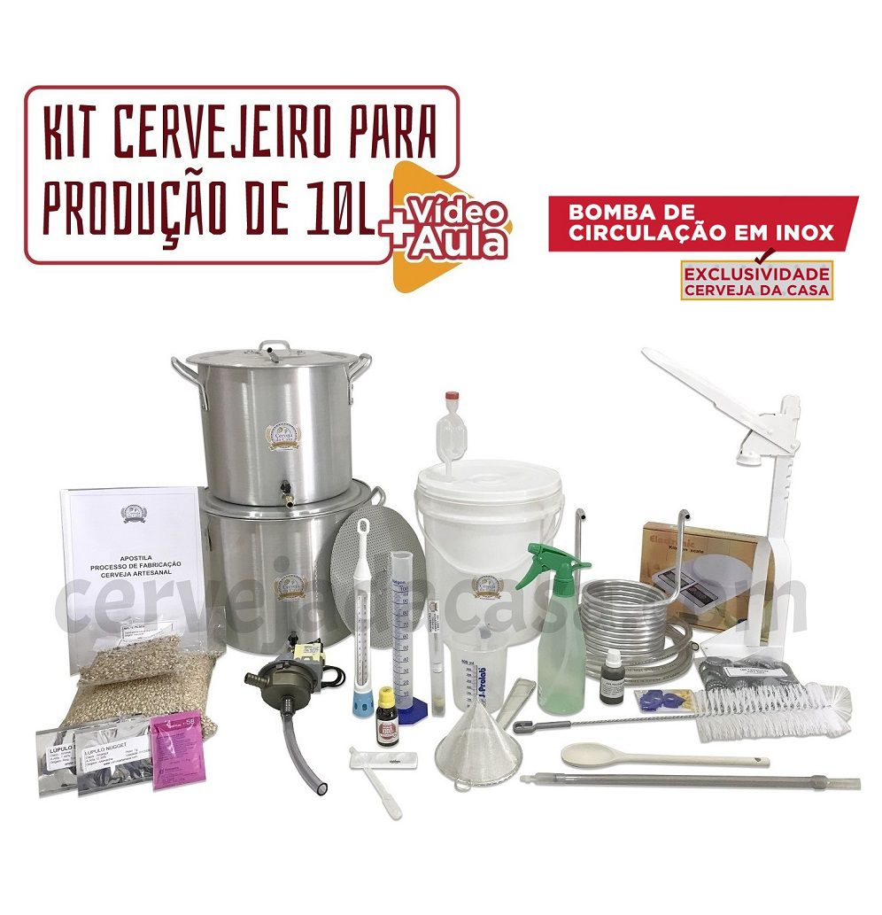 Kit Cervejeiro p/ Produção de Cerveja Artesanal - Moedor Não Incluso (Opções de 10 a 60L)