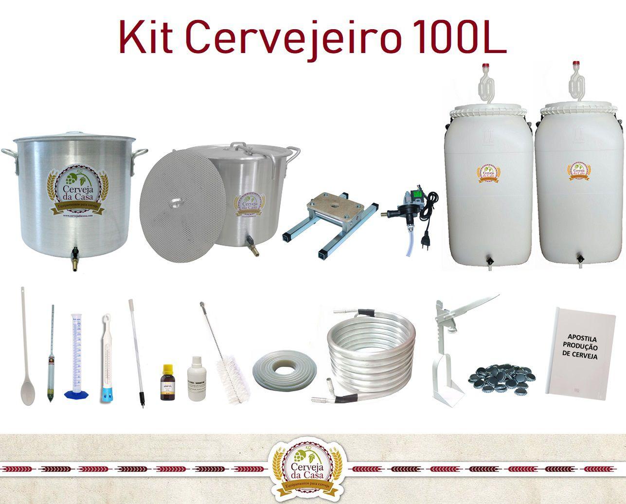 Kit Cervejeiro para Produção de Cerveja Artesanal – 100 litros  - Cerveja da Casa