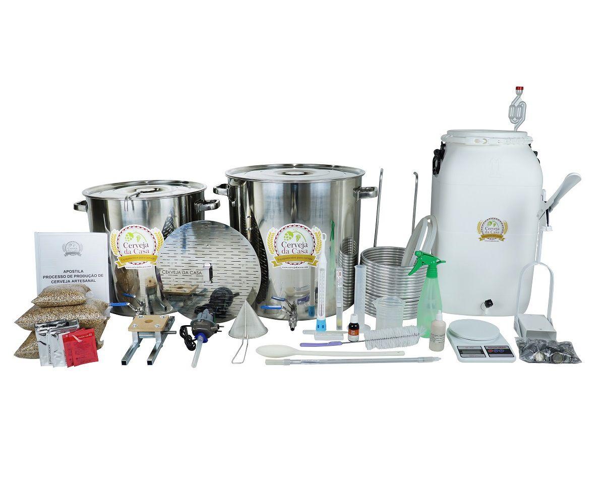 Kit com Caldeirões em Inox p/ Produção de 50L de Cerveja Artesanal
