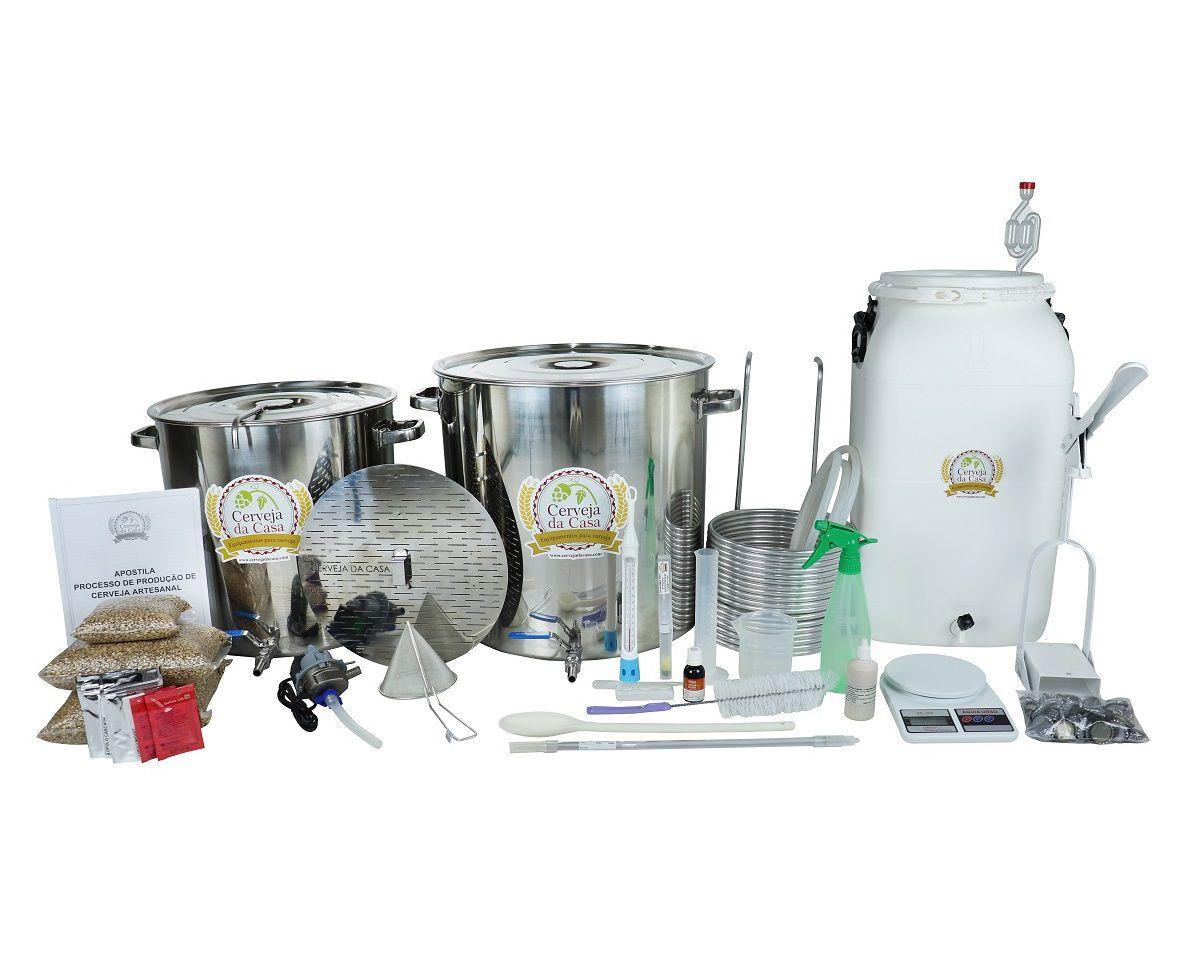 Kit com Caldeirões em Inox p/ Produção de 50L de Cerveja Artesanal - Moedor Não Incluso