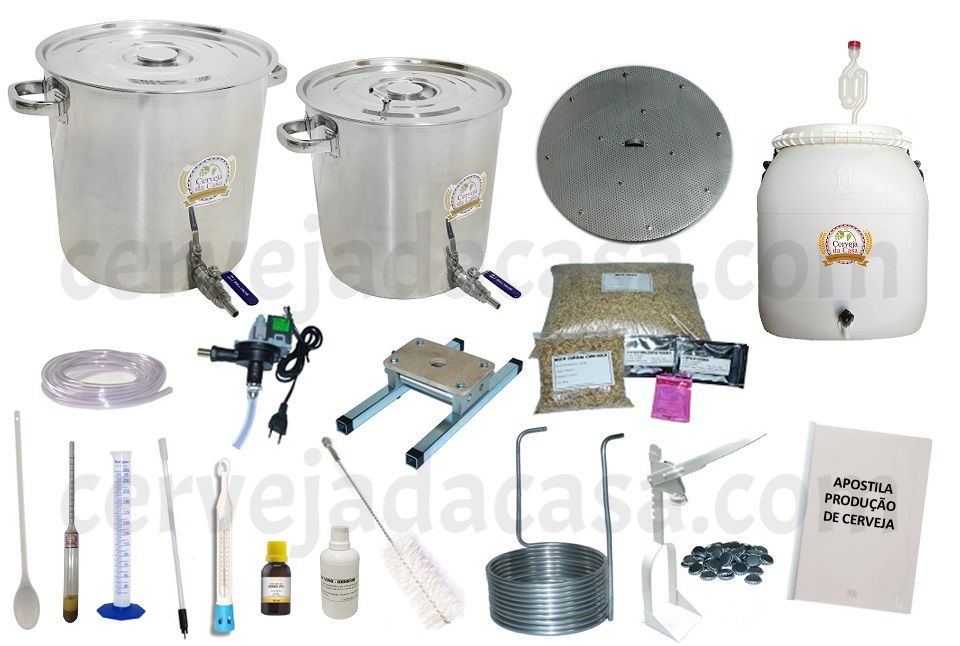 Kit com Caldeirões em Inox p/ Produção de Cerveja Artesanal 20 a 50 litros  - Cerveja da Casa