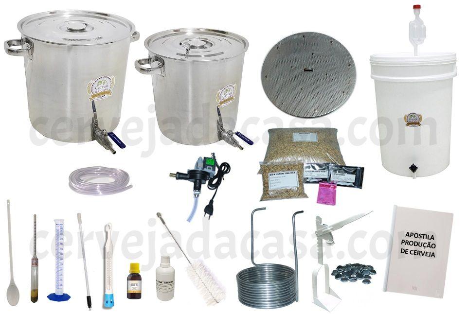 Kit com Caldeirões em Inox p/ Produção de Cerveja Artesanal 20 a 50 litros (Sem Moedor)