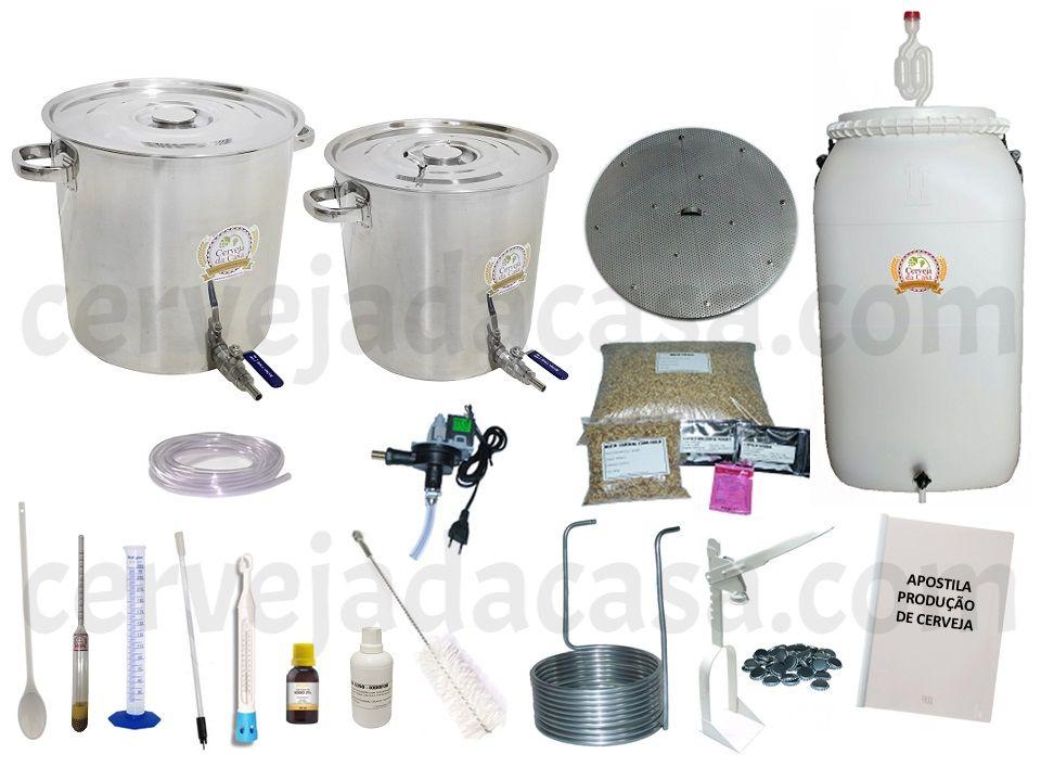 Kit com Caldeirões em Inox p/ Produção de Cerveja Artesanal 20 a 50 litros (Sem Moedor)  - Cerveja da Casa