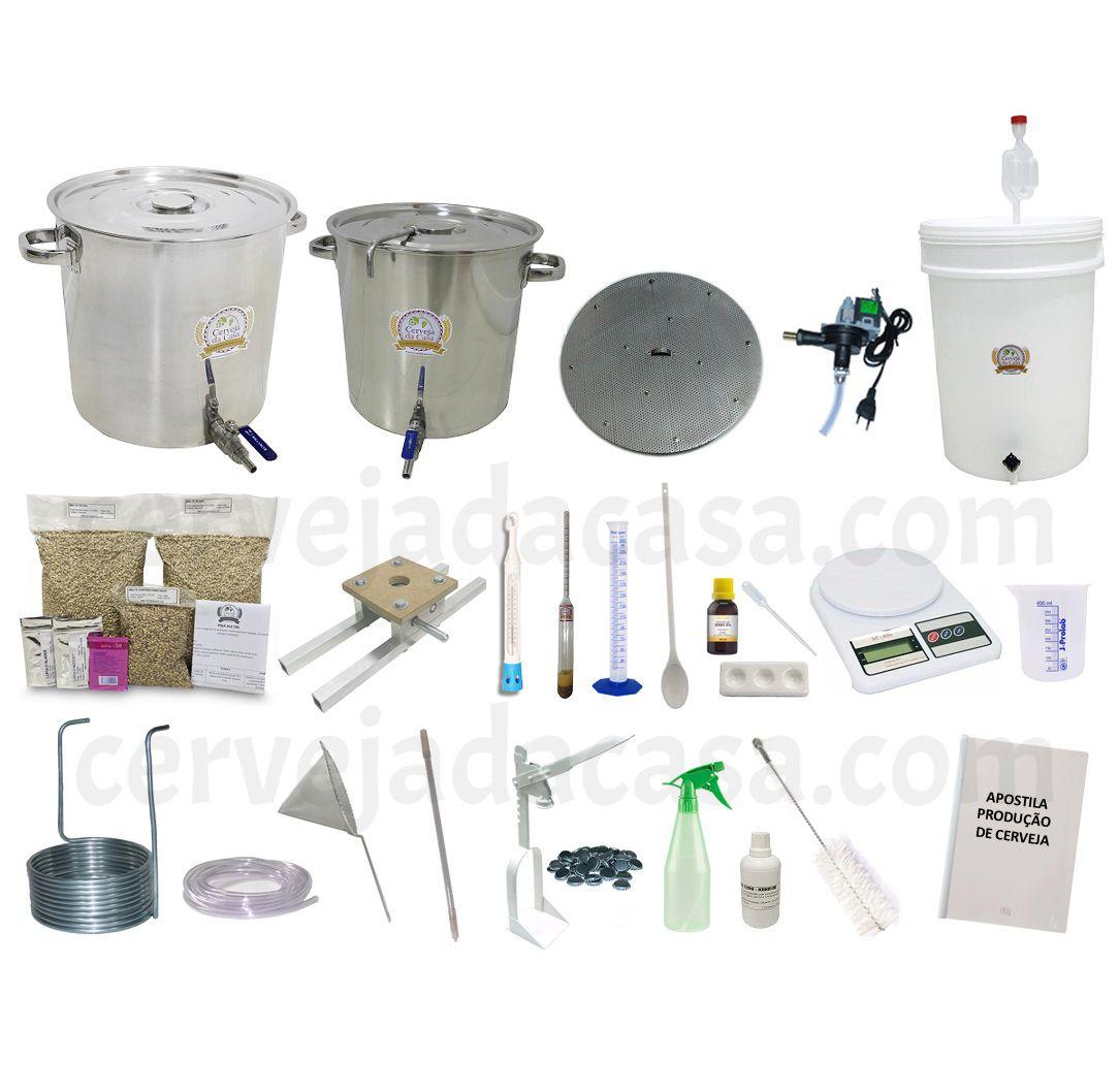 Kit com Caldeirões em Inox p/ Produção de Cerveja Artesanal (Opções de 20 a 50L)
