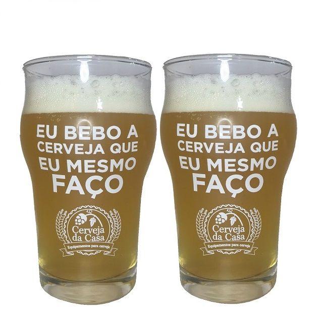 """Par de Copos Pint """"Eu bebo a cerveja que eu mesmo faço"""" 473ml"""