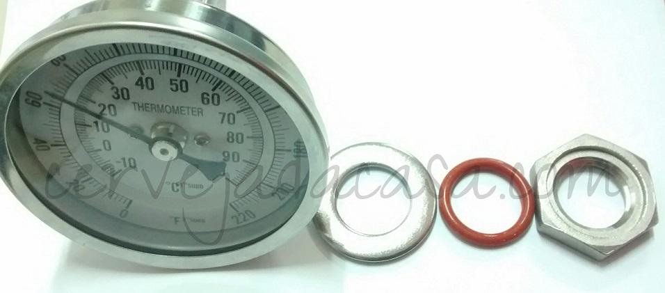 Termômetro Bimetálico em Inox para Caldeirão  - Cerveja da Casa