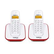 Kit Telefone Sem Fio TS 3110 + 1 Ramal TS 3111 Branco e Vermelho TS 3110 - Intelbras