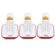 Kit Telefone Sem Fio TS 3110 + 2 Ramais TS 3111 Branco e Vermelho TS 3110 - Intelbras