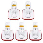 Kit Telefone Sem Fio TS 3110 + 4 Ramais TS 3111 Branco e Vermelho TS 3110 - Intelbras