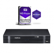 DVR Stand Alone 04 Canais 1080P LITE MULTI HD MHDX 1104 + HD 1 TB Purple Intelbras