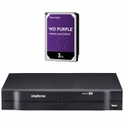 DVR Stand Alone 08 Canais 1080P LITE MULTI HD MHDX 1108 + HD 3 TB Purple Intelbras