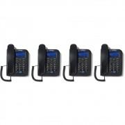 Kit 04 Telefones Com fio Identificador Chamada TC 60 ID Intelbras