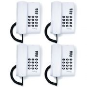 Kit 04 Telefones Com Fio Mesa ou Parede Pleno Branco Intelbras