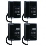 Kit 04 Telefones Com Fio TC 50 Premium Preto Intelbras