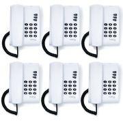 Kit 06 Telefones Com Fio Mesa ou Parede Pleno Branco Intelbras