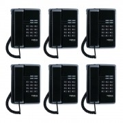 Kit 06 Telefones Com Fio TC 50 Premium Preto Intelbras