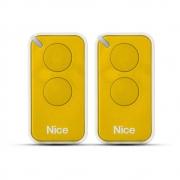 Kit 2 Controle Remoto 433,92 MHz Rolling Code 2 Botões Era Inti Amarelo Linear HCS - Nice