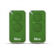 Kit 2 Controle Remoto 433,92 MHz Rolling Code 2 Botões Era Inti Verde Linear HCS - Nice