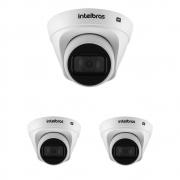 Kit 3 Câmeras IP 1 Megapixel 2.8mm 30m PoE VIP 1130 D Intelbras
