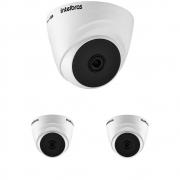 Kit 3 Câmeras Multi HD 2 Megapixels 2.8mm 20m VHD 1220 D G6 Intelbras