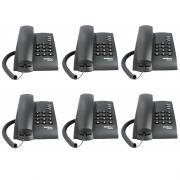 Kit 06 Telefones Com Fio Mesa ou Parede Pleno Preto Intelbras